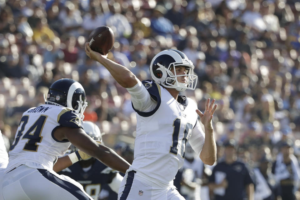 Jared Goff struggled to hold onto the football on Saturday vs. the Chargers. (AP)