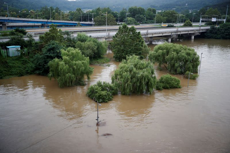A submerged Han River park by flooded Han River is seen in Seoul