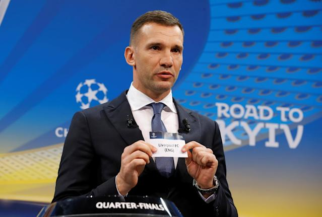 Soccer Football - Champions League Quarter-Final Draw - Nyon, Switzerland - March 16, 2018 Andriy Shevchenko draws Liverpool REUTERS/Pierre Albouy