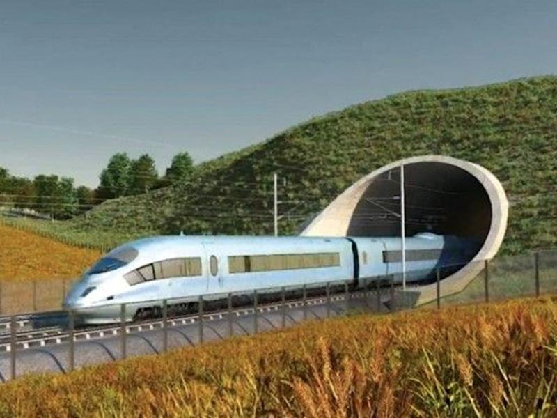 An artist's impression of a train emerging from a tunnel on HS2 (HS2 Ltd)