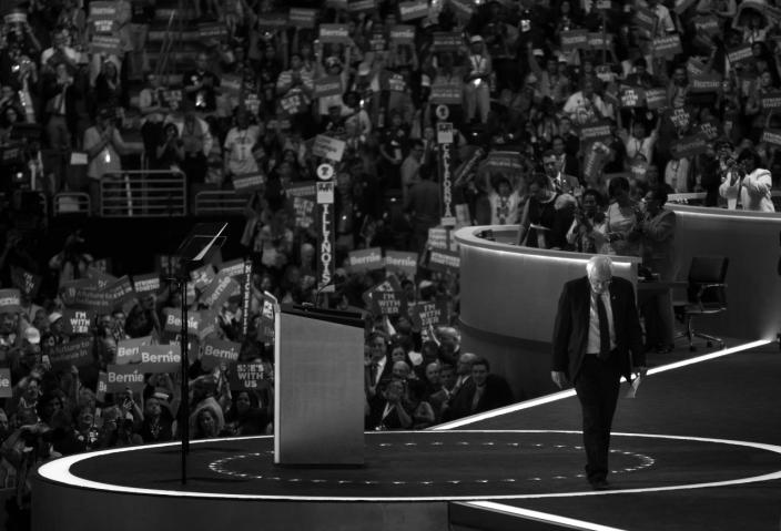 <p>Bernie Sanders leaves the stage after addressing the Democratic National Convention on July 25, 2016, in Philadelphia, PA.<br>(Photo: Khue Bui for Yahoo News)</p>