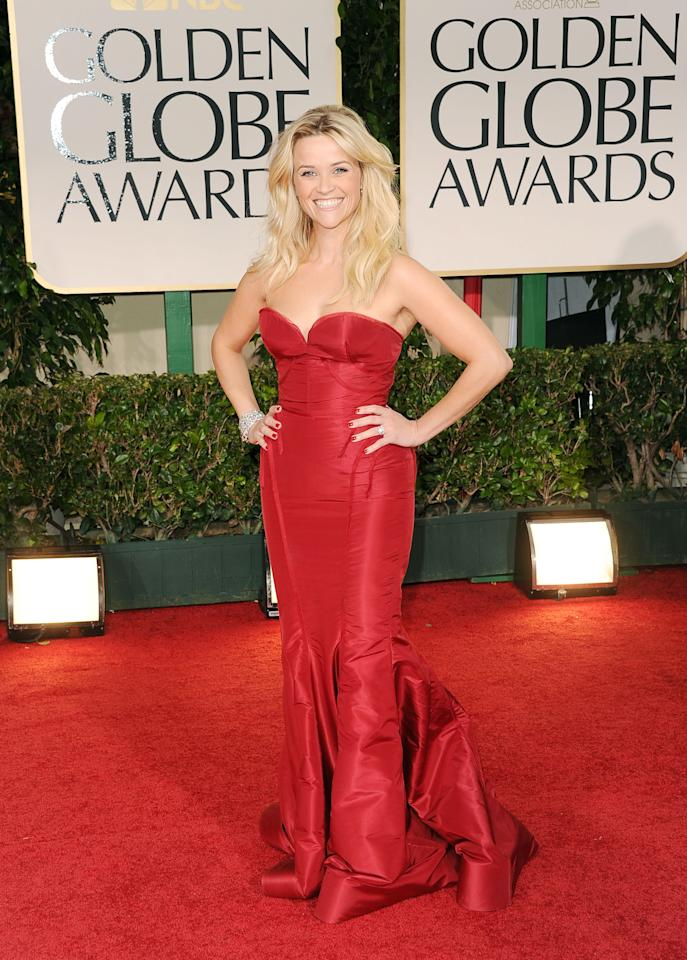 BEVERLY HILLS, CA - JANUARY 15:  Actress Reese Witherspoon arrives at the 69th Annual Golden Globe Awards held at the Beverly Hilton Hotel on January 15, 2012 in Beverly Hills, California.  (Photo by Jason Merritt/Getty Images)