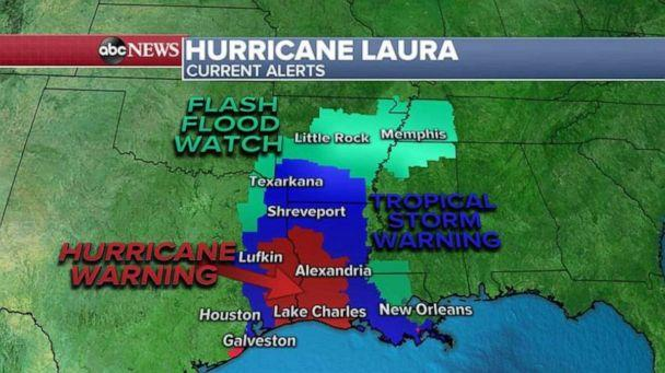 PHOTO: As the storm moves north, a tropical storm warning has been issued as far north as Arkansas and a flash flood watch has been issued for Oklahoma, Arkansas and Tennessee. (ABC News)