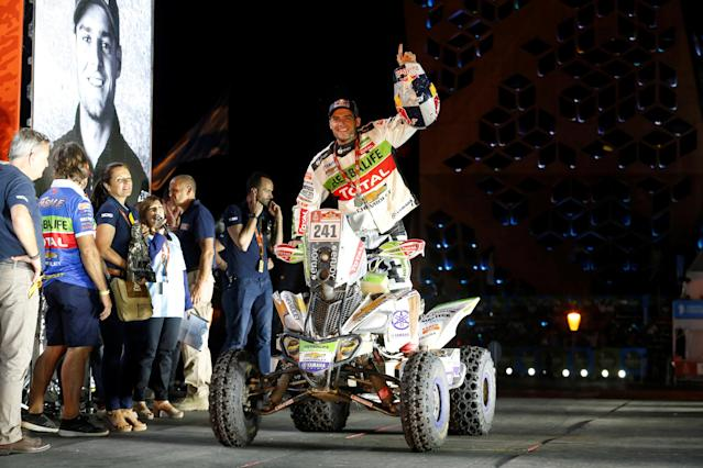 Dakar Rally - 2018 Peru-Bolivia-Argentina Dakar rally - 40th Dakar Edition - January 20, 2018. Ignacio Casale of Chile celebrates after winning in the quads category. REUTERS/Andres Stapff