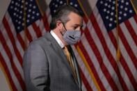 """Republican Senator Ted Cruz of Texas (pictured November 2020) is leading a group of lawmakers in asserting that """"allegations of fraud and irregularities in the 2020 election exceed any in our lifetimes"""""""