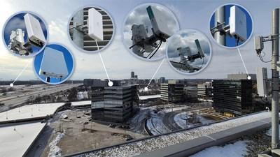 Fixed wireless 5G radio from Nokia shown (far right) on rooftop of TeraGo's head office is being tested at various distances with trial Customer Premise Equipment (CPE) by Inseego and Askey. (CNW Group/TeraGo Inc.)