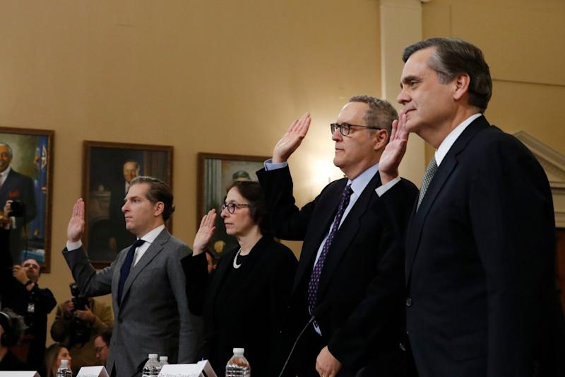 Constitutional experts are sworn in before giving evidence in the impeachment hearings into Donald Trump at the House Judiciary Committee: (left to right) Noah Feldman, Pamela Karlan, Michael Gerhardt and Jonathan Turley: AP