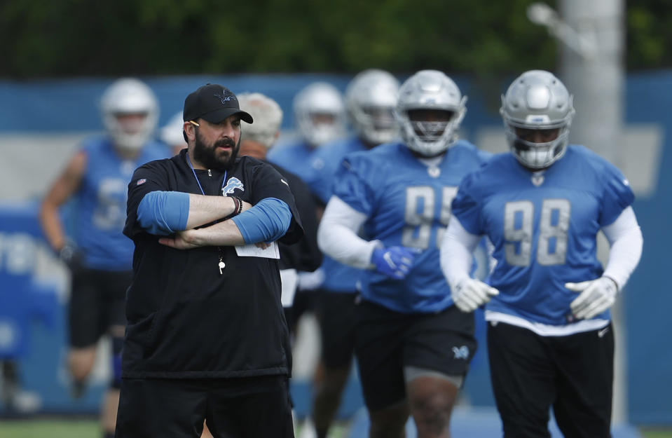Detroit Lions head coach Matt Patricia watches his team during practice. (AP)