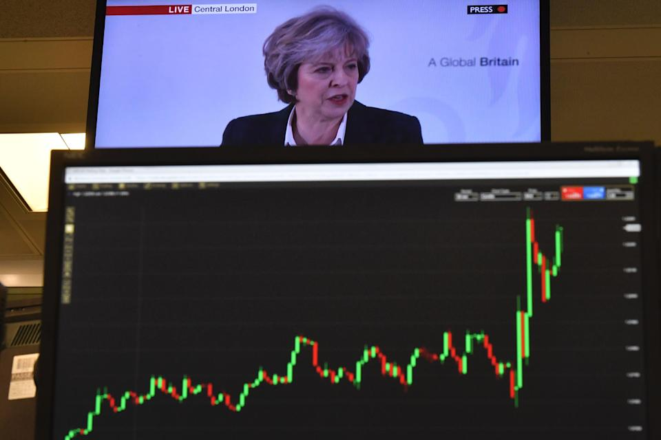 A big test: Traders and analysts expect volatility in the pound as MPs vote on Theresa May's draft Brexit deal. Photo: BEN STANSALL/AFP/Getty Images.