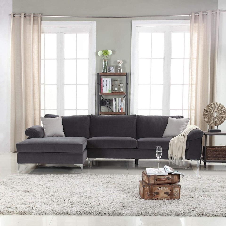 <p>This <span>Divano Roma Furniture Velvet Fabric Sectional Sofa</span> ($580) is so comfy and stylish.</p>