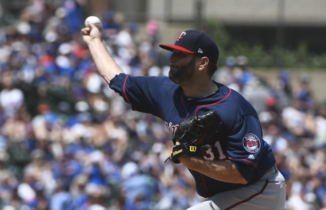 Minnesota Twins starting pitcher Lance Lynn (31) delivers during the first inning of an baseball game against the Chicago Cubs, Sunday, July 1, 2018, in Chicago. (AP Photo/Matt Marton)