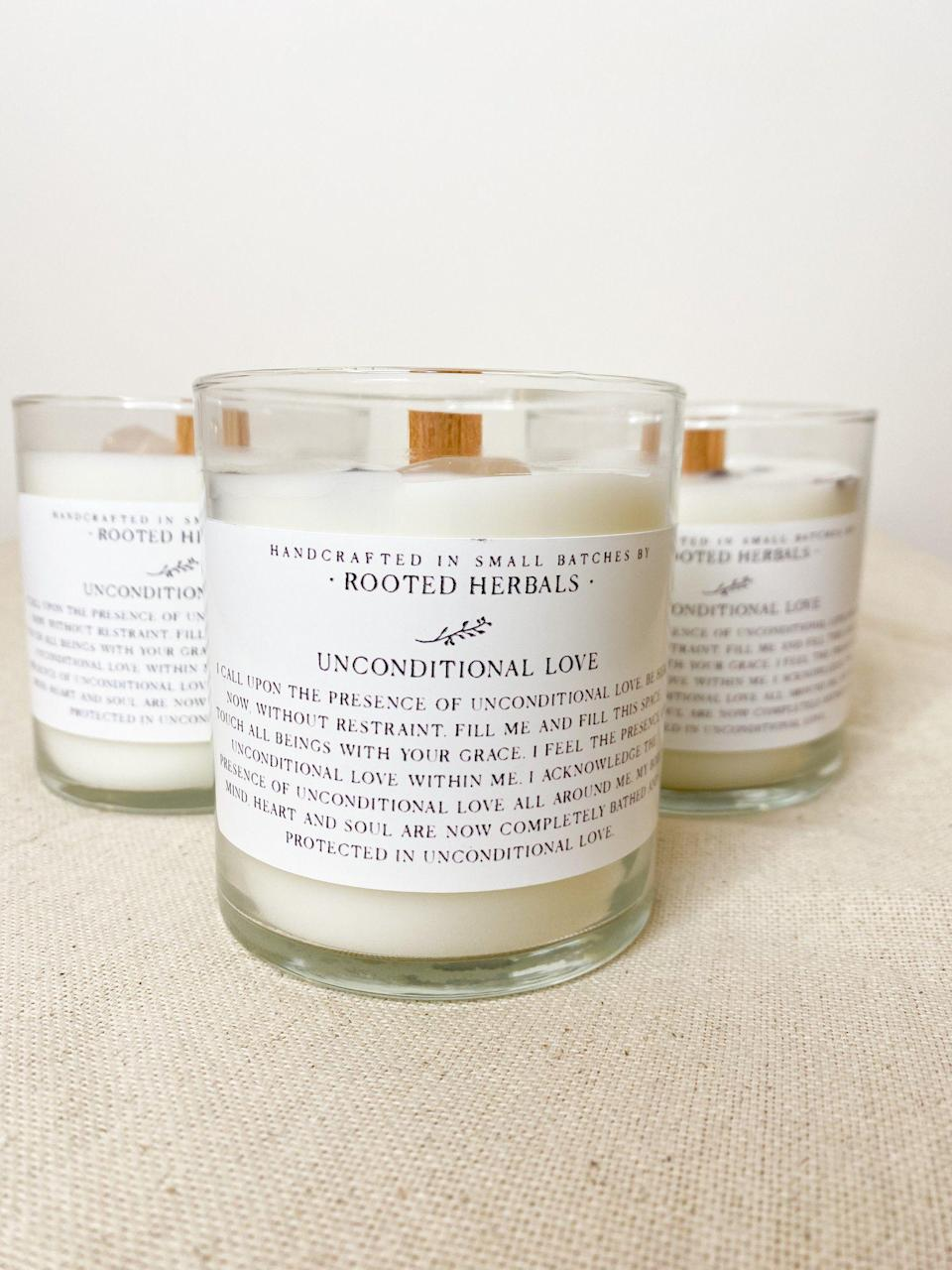 """<p><strong>Rooted Herbals</strong></p><p>damnagedvintage.com</p><p><strong>$28.00</strong></p><p><a href=""""https://damnagedvintage.com/collections/home/products/unconditional-love-candle"""" rel=""""nofollow noopener"""" target=""""_blank"""" data-ylk=""""slk:Shop Now"""" class=""""link rapid-noclick-resp"""">Shop Now</a></p><p>A perfect candle to light as you practice your self-love rituals, it's a romantic option with notes of sandalwood, amber, patchouli, and rose. A rose quartze stone also comes in the candle. </p>"""