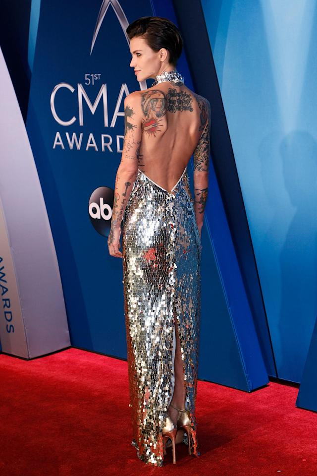 <p>Celebs dare to bare all at the 2017 Country Music Awards on Wednesday night. Ruby Rose led the best dressed in a silver sequined August Atlelier gown.</p>