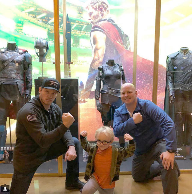 "<p>The actor took son Jack, 5, for guys' night out over the weekend, as the pair caught the new Chris Hemsworth flick. ""Holy crap! <em>THOR: RAGNAROK</em> is absolutely amazing! We just laughed our asses off!"" he raved. ""So proud to be part of the Marvel universe."" Pratt has been getting in a lot of quality time with his boy since he and his wife, Anna Faris, announced their split in August after eight years of marriage. (Photo: <a href=""https://www.instagram.com/p/BbD2EVkj6_H/?taken-by=prattprattpratt"" rel=""nofollow noopener"" target=""_blank"" data-ylk=""slk:Chris Pratt via Instagram"" class=""link rapid-noclick-resp"">Chris Pratt via Instagram</a>) </p>"