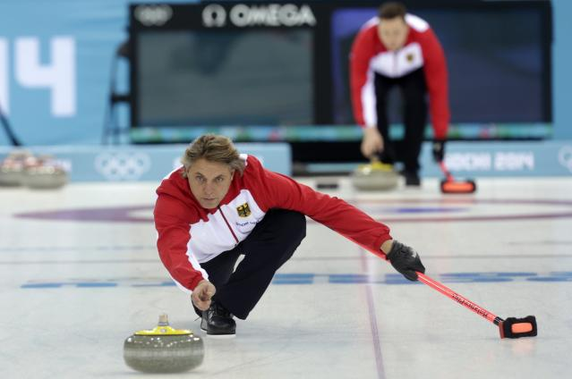 Germany's men's curling team skip John Jahr attends a training session in the Ice Cube Curling Center in Sochi February 9, 2014. REUTERS/Ints Kalnins (RUSSIA - Tags: SPORT OLYMPICS CURLING)