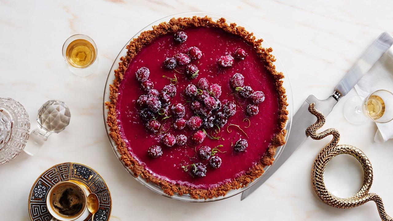 """The spirit of a Key lime pie in the guise of a luscious cranberry curd. The contrast between the snappy press-in crust and the tart filling in this recipe is pure genius. <a href=""""https://www.bonappetit.com/recipe/cranberry-lime-pie?mbid=synd_yahoo_rss"""">See recipe.</a>"""