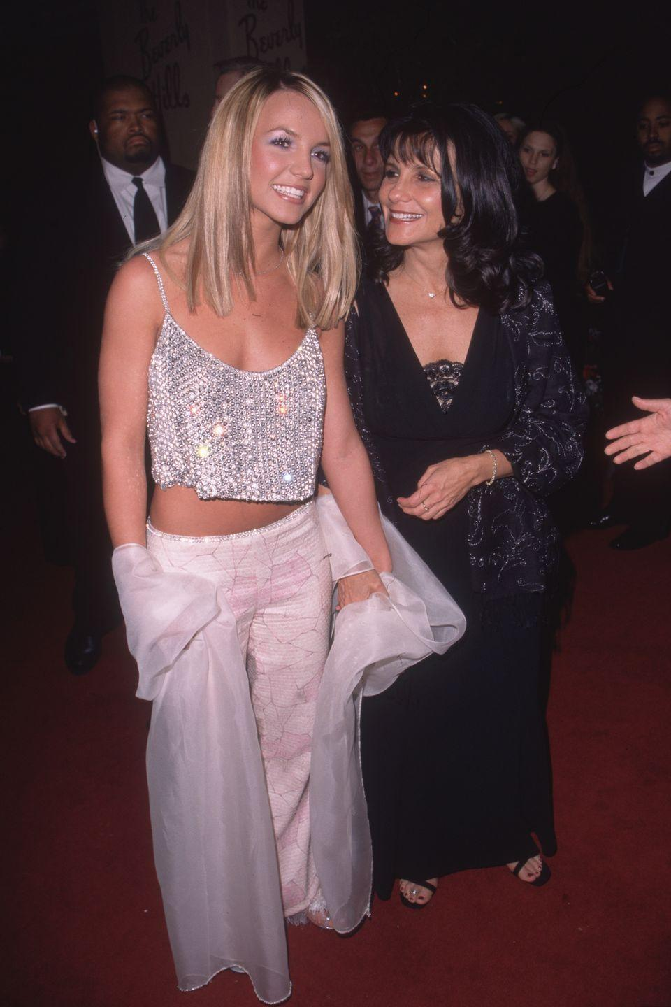<p>Britney Spears arrives at the Arista Records pre-Grammy Awards party at the Beverly Hills Hotel in California, with her mom, Lynne Spears. </p>
