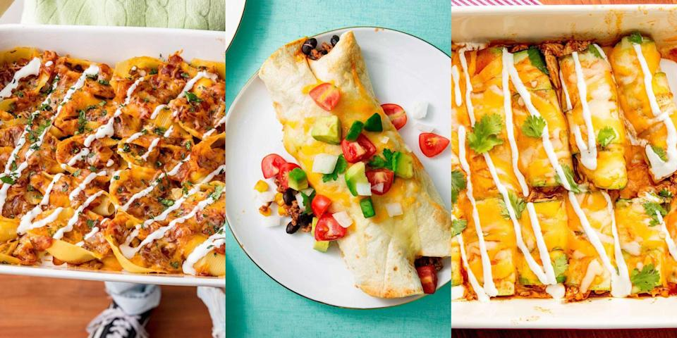 """<p>There's nothing like an <a href=""""https://www.delish.com/uk/cooking/recipes/g32250336/mexican-recipes/"""" rel=""""nofollow noopener"""" target=""""_blank"""" data-ylk=""""slk:Mexican-inspired recipe"""" class=""""link rapid-noclick-resp"""">Mexican-inspired recipe</a> that's loaded with delicious fillings, a tangy tomato sauce and a bundle of cheese. Yep, we're talking about <a href=""""https://www.delish.com/uk/cooking/recipes/a30451472/cheesy-chicken-enchiladas-recipe/"""" rel=""""nofollow noopener"""" target=""""_blank"""" data-ylk=""""slk:enchiladas"""" class=""""link rapid-noclick-resp"""">enchiladas</a>... But not just any old, traditional enchiladas. We're talking <a href=""""https://www.delish.com/uk/cooking/recipes/a32373930/enchilada-casserole-recipe/"""" rel=""""nofollow noopener"""" target=""""_blank"""" data-ylk=""""slk:Chicken Enchilada Bakes"""" class=""""link rapid-noclick-resp"""">Chicken Enchilada Bakes</a>, <a href=""""https://www.delish.com/uk/cooking/recipes/a34959492/low-carb-cabbage-enchilada-recipe/"""" rel=""""nofollow noopener"""" target=""""_blank"""" data-ylk=""""slk:Low-Carb Cabbage Enchiladas"""" class=""""link rapid-noclick-resp"""">Low-Carb Cabbage Enchiladas</a> and <a href=""""https://www.delish.com/uk/cooking/recipes/a28829082/enchilada-stuffed-shells-recipe/"""" rel=""""nofollow noopener"""" target=""""_blank"""" data-ylk=""""slk:Enchilada Stuffed Shells"""" class=""""link rapid-noclick-resp"""">Enchilada Stuffed Shells</a>. Easy to make and beyond delicious, you simply can't beat this classic combination of food. </p><p>So, if you're looking for a variety of enchilada recipes to make up this weekend (just in time for <a href=""""https://www.delish.com/uk/food-news/g34976717/mexican-cooking-mistakes/"""" rel=""""nofollow noopener"""" target=""""_blank"""" data-ylk=""""slk:Mexican"""" class=""""link rapid-noclick-resp"""">Mexican</a> Mondays) we've got you covered with plenty of enchilada variations. </p>"""