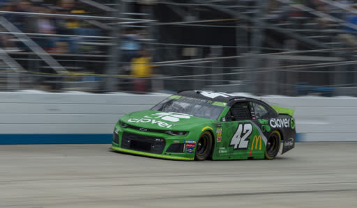 Kyle Larson drives on the way to winning the NASCAR Cup Series playoff auto race Sunday, Oct. 6, 2019, at Dover International Speedway in Dover, Del. (AP Photo/Jason Minto)