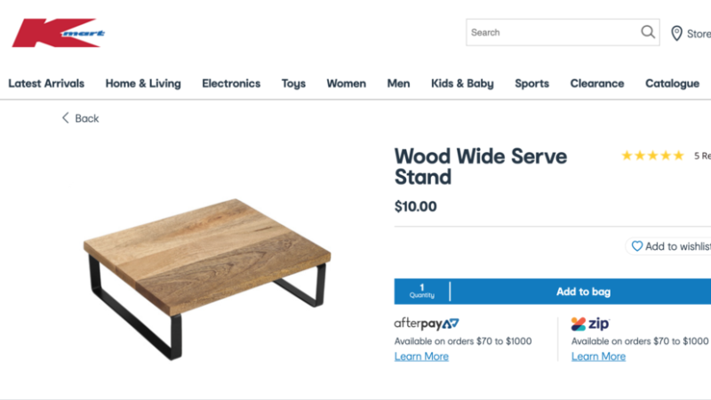 kmart wood wide serve board