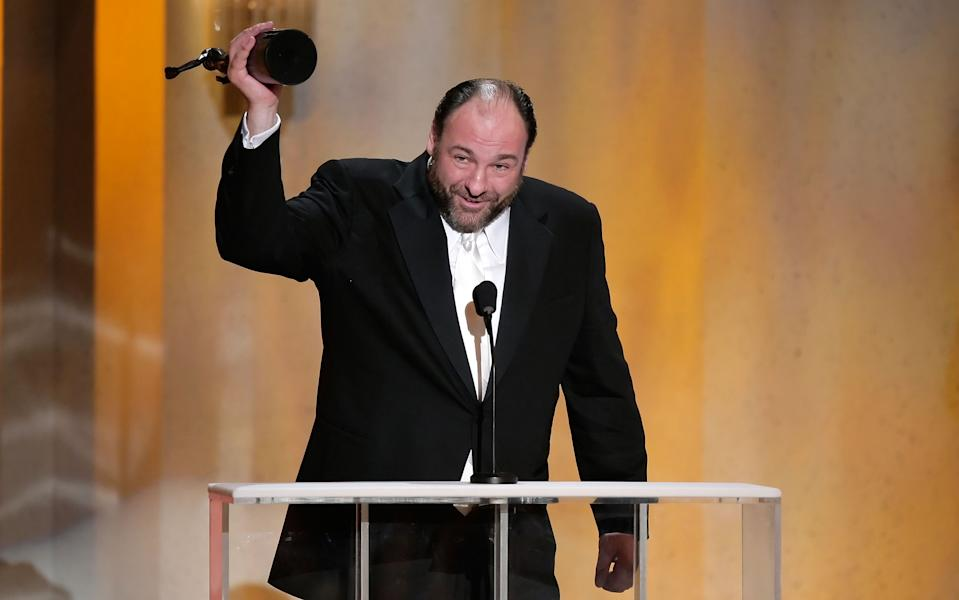 "LOS ANGELES - JANUARY 27:  Actor James Gandolfini accepts the Outstanding Performance by a Male Actor in a Drama Series for ""The Sopranos"" onstage during the 14th annual Screen Actors Guild awards held at the Shrine Auditorium on January 27, 2008 in Los Angeles, California.  (Photo by Kevin Winter/Getty Images)"