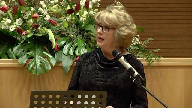 Mary McAleese delivers a keynote address at the Voices of Faith conference.