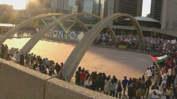 Thousands of pro-Palestinian demonstrators attended a rally in Nathan Phillips Square on Saturday.