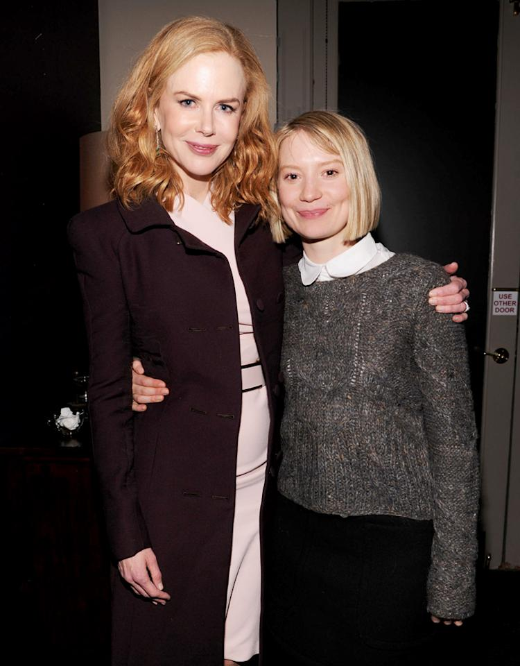 "PARK CITY, UT - JANUARY 20:  (L-R) Actors Nicole Kidman and Mia Wasikowska attend Grey Goose Blue Door party for Fox Searchlight Pictures ""Stoker"" and ""The East"" on January 20, 2013 in Park City, Utah.  (Photo by Jamie McCarthy/Getty Images for Grey Goose)"