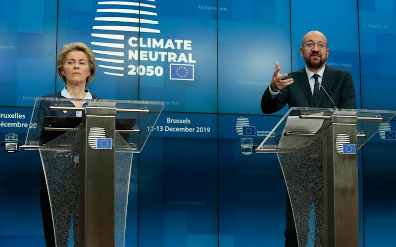 Ursula von der Leyen, the European Commission president, and Charles Michel, the European Council president, claimed victory despite the Polish snub. - REX