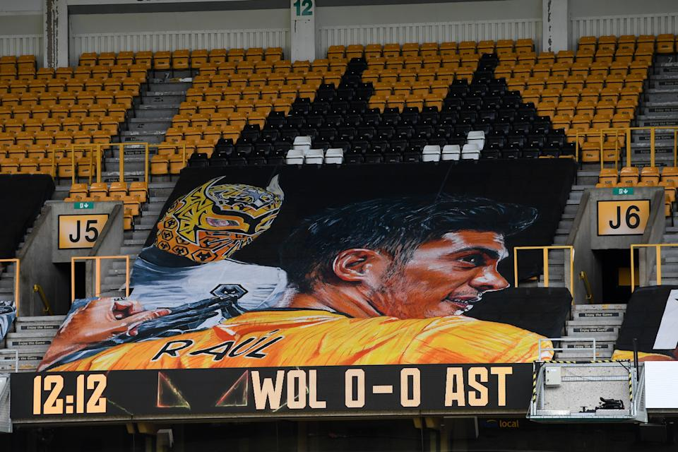 WOLVERHAMPTON, ENGLAND - DECEMBER 12: The fan funded banner in support of Raul Jimenez of Wolverhampton Wanderers during the Premier League match between Wolverhampton Wanderers and Aston Villa at Molineux on December 12, 2020 in Wolverhampton, United Kingdom. The match will be played without fans, behind closed doors as a Covid-19 precaution. (Photo by Sam Bagnall - AMA/Getty Images)