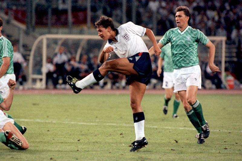 Gary Lineker scores England's equaliser (Photo by Ross Kinnaird/EMPICS via Getty Images)