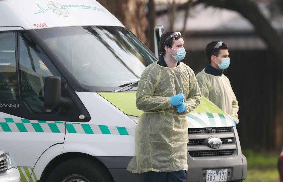 Medical staff at St Basil's aged care facility on Saturday. Source: AAP