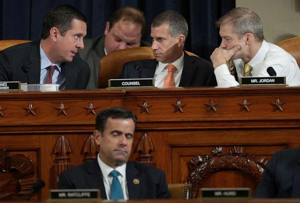 PHOTO: Ranking member Devin Nunes (L) confers with Republican counsel Steve Castor (C) and Rep. Jim Jordan during former U.S. Ambassador to Ukraine Marie Yovanovitch's testimony before the House Intelligence Committee hearing in Washington, Nov. 15, 2019. (Alex Wong/Reuters)