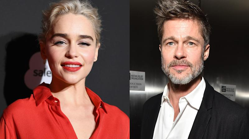 """On Saturday in LA, actorBrad Pitt offered up over a hundred grand for the chance to watch an episode of """"Game Of Thrones"""" with Daenerys Targaryen herself, Emilia Clarke."""