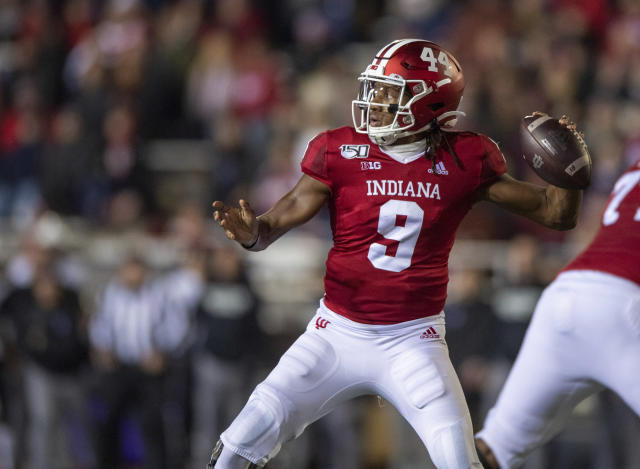 Indiana quarterback Michael Penix Jr. (9) drops back to pass during the first half of an NCAA college football game against Northwestern, Saturday, Nov. 2, 2019, in Bloomington, Ind. (AP Photo/Doug McSchooler)
