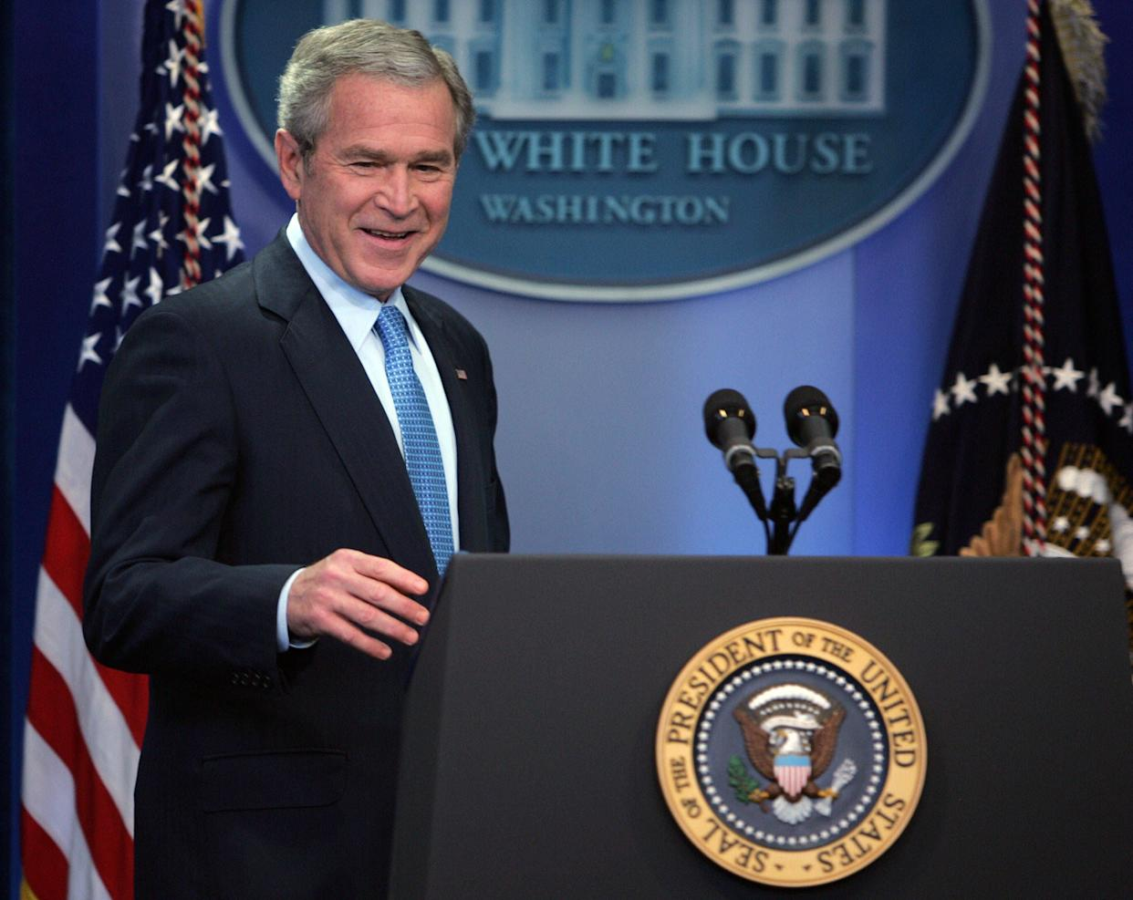 """<strong>""""Mr. Prime Minister, thank you for your introduction. Thank you for being such a fine host for the OPEC summit."""" </strong> -- September 2007, in Sydney, Australia, where Bush was attending an APEC summit. <a href=""""http://www.huffingtonpost.com/2009/01/03/bushisms-over-the-years_n_154969.html"""" rel=""""nofollow noopener"""" target=""""_blank"""" data-ylk=""""slk:Source: The Associated Press"""" class=""""link rapid-noclick-resp"""">Source: The Associated Press</a> (TIM SLOAN/AFP/Getty Images)"""