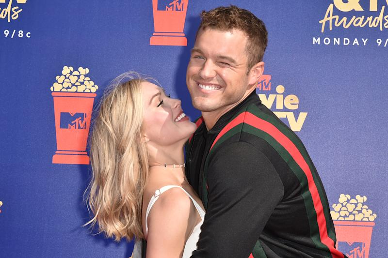 SANTA MONICA, CALIFORNIA - JUNE 15: Cassie Randolph and Colton Underwood attend the 2019 MTV Movie & TV Awards at Barker Hangar on June 15, 2019 in Santa Monica, California. (Photo by David Crotty/Patrick McMullan via Getty Images)