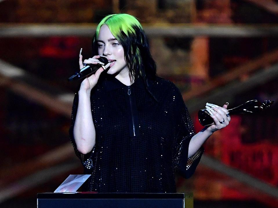 Billie Eilish accepting the International Female Solo Artist award during The BRIT Awards 2020 (Gareth Cattermole/Getty Images)