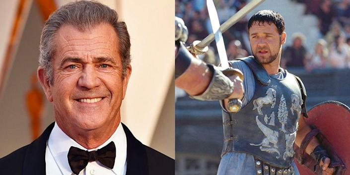 """<p>Mel Gibson was one of Hollywood's biggest hitters back in 2000, but the <em>Braveheart</em> star turned down the role of Maximus in <em>Gladiator,</em> because of the rigor of the action scenes. Also, apparently he thought he was <a href=""""https://www.newsmax.com/fastfeatures/mel-gibson-roles-missed-actors/2015/12/10/id/705348/"""" rel=""""nofollow noopener"""" target=""""_blank"""" data-ylk=""""slk:too old for the part"""" class=""""link rapid-noclick-resp"""">too old for the part</a>.</p>"""