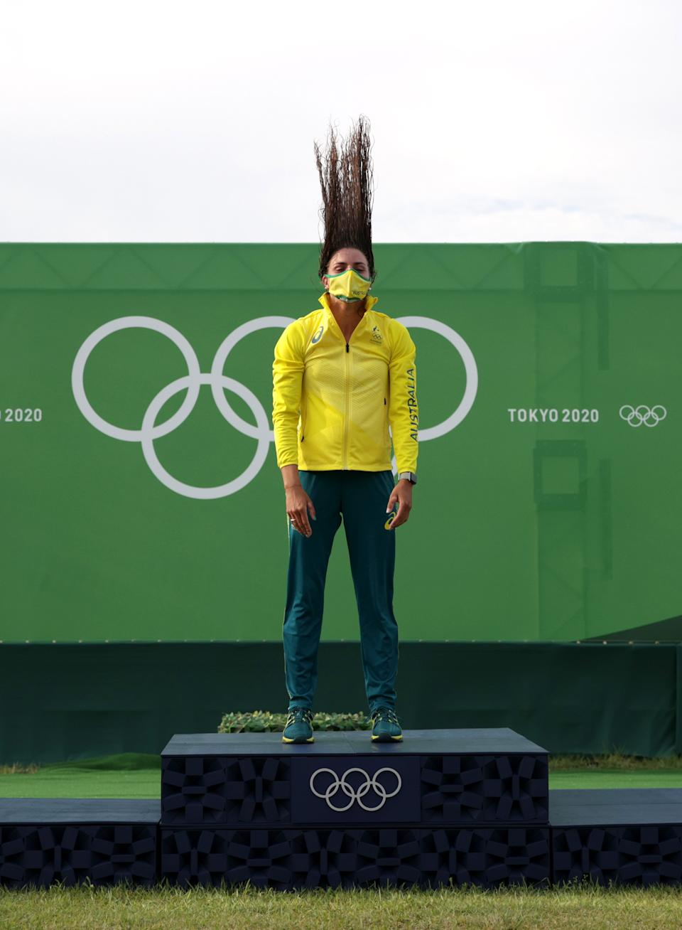 <p>TOKYO, JAPAN - JULY 29: Gold medalist Jessica Fox of Team Australia celebrates during the medal ceremony following the Women's Canoe Slalom Final on day six of the Tokyo 2020 Olympic Games at Kasai Canoe Slalom Centre on July 29, 2021 in Tokyo, Japan. (Photo by Adam Pretty/Getty Images)</p>
