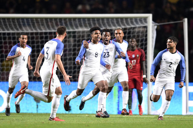 Weston McKennie celebrates his debut goal for the United States against Portugal. (Getty)