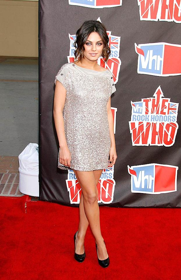 "Mila Kunis sparkled in a silver mini dress upon arriving at the sold-out show. Jeffrey Mayer/<a href=""http://www.wireimage.com"" target=""new"">WireImage.com</a> - July 12, 2008"