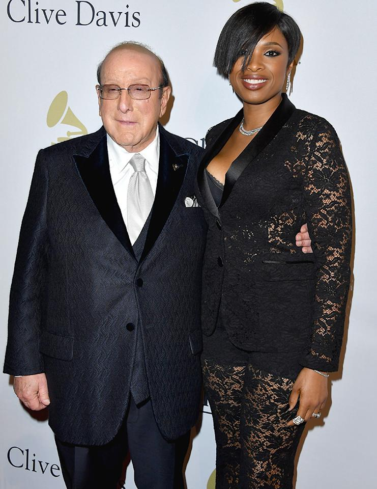 "<p>Jennifer Hudson proudly posed with legendary music executive Clive Davis at his annual <a rel=""nofollow"" href=""https://www.yahoo.com/music/rare-joni-mitchell-sighting-raw-mary-j-blige-performance-dominate-emotional-night-at-clive-daviss-pre-grammy-gala-104326147.html"">pre-Grammy gala</a> on Saturday evening at the Beverly Hilton hotel in L.A. The singer later paid tribute to Leonard Cohen with her rousing rendition of ""Hallelujah."" (Photo: Steve Granitz/WireImage) </p>"