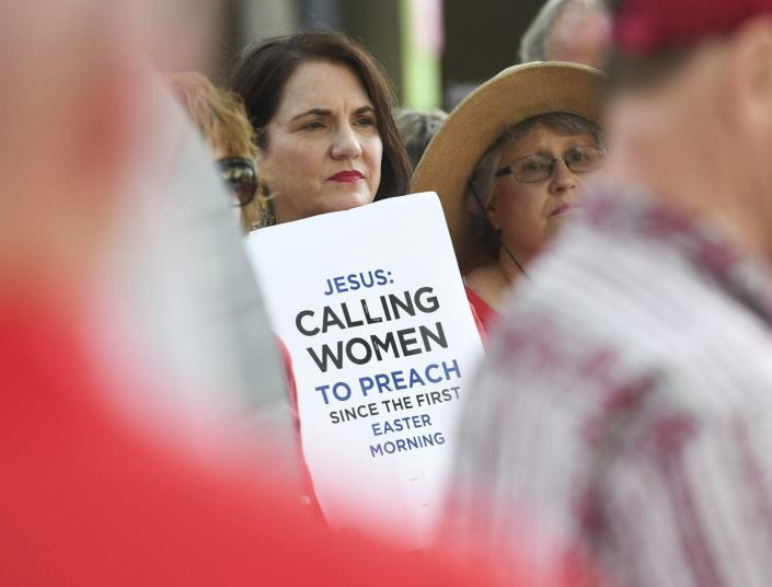 """<span class=""""caption"""">Southern Baptist women demonstrating against the faith's gender role doctrine in Birmingham, Alabama, in 2019.</span> <span class=""""attribution""""><a class=""""link rapid-noclick-resp"""" href=""""https://newsroom.ap.org/detail/SouthernBaptistsWomen/04adafaa871342cbb838c37a238fc5d7/photo?Query=southern%20AND%20baptist&mediaType=photo&sortBy=&dateRange=Anytime&totalCount=543&currentItemNo=12"""" rel=""""nofollow noopener"""" target=""""_blank"""" data-ylk=""""slk:AP Photo/Julie Bennett"""">AP Photo/Julie Bennett</a></span>"""