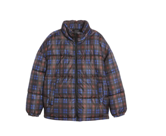 BP. Oversized Puffer Jacket in Purple Earl Ombre plaid. Image via Nordstrom.