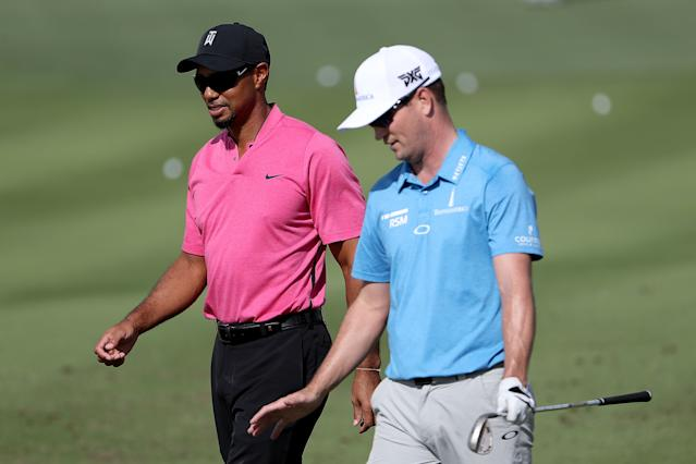 """<h1 class=""""title"""">Hero World Challenge - Preview Day 2</h1> <div class=""""caption""""> <a class=""""link rapid-noclick-resp"""" href=""""/pga/players/147/"""" data-ylk=""""slk:Tiger Woods"""">Tiger Woods</a> and Zach Johnson. </div> <cite class=""""credit"""">Christian Petersen</cite>"""