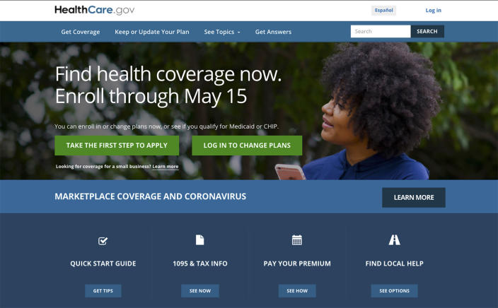 FILE - In this Feb. 15, 2021, file image shows the main page of the HealthCare.gov website. More than a half million Americans have taken advantage of the Biden administration's special health insurance sign-up window keyed to the COVID-19 pandemic, the government announced Wednesday in anticipation that even more consumers will gain coverage in the coming months. (HealthCare.gov via AP)