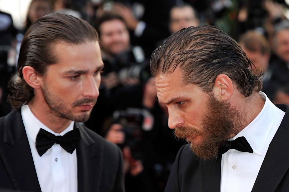 "CANNES, FRANCE - MAY 19:  (L-R)  Shia LaBeouf and Tom Hardy attend the ""Lawless"" Premiere during the 65th Annual Cannes Film Festival at Palais des Festivals on May 19, 2012 in Cannes, France.  (Photo by Gareth Cattermole/Getty Images)"
