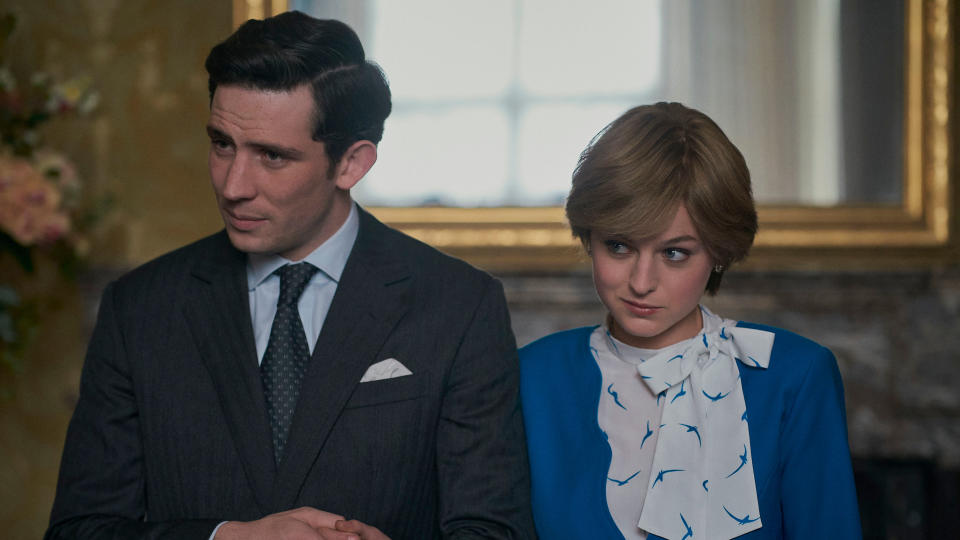 Josh O'Connor and Emma Corrin portray Prince Charles and Princess Diana in 'The Crown'. (Netflix/Des Willie)