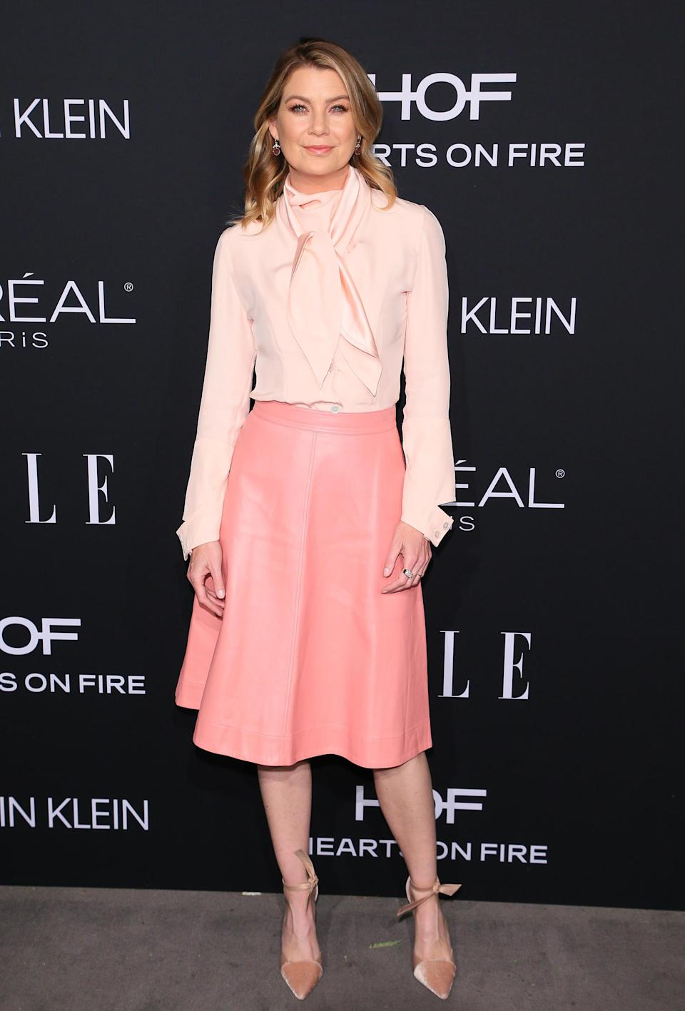 <p>Ellen Pompeo looked pretty in pink at the annual event thanks to a blush-hued ensemble by Calvin Klein. <em>[Photo: Getty]</em> </p>